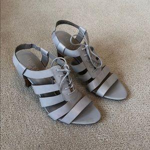 Franco Sarto gray leather heels size 7 1/2